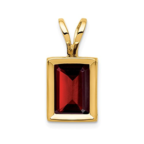 - 14k Yellow Gold 7x5mm Red Garnet Bezel Pendant Charm Necklace Gemstone Fine Jewelry Gifts For Women For Her