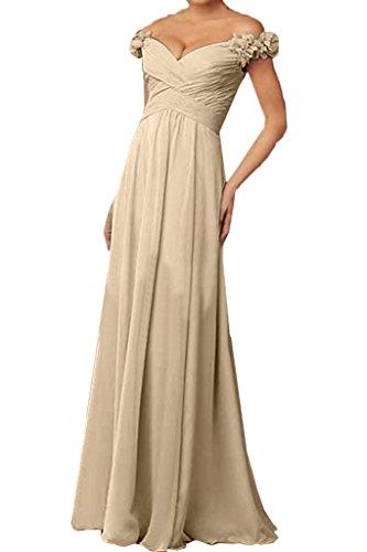 ivyd ressing Mujer a partir de la hombro con flores gasa vestido de fiesta Prom vestido fijo para vestido de noche champán