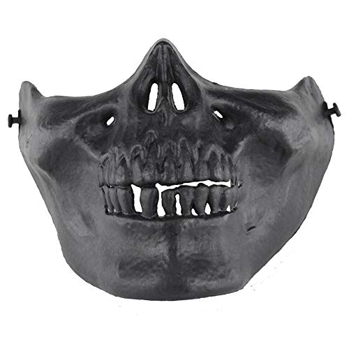 KOBWA Pawaca Half Face Skull Protective Mask, Halloween Zombie Skeleton Mask,Scary Ghost Devil Horror Mask for Biker Cosplay Costume Party Movie Prop Paintball BB Airsoft Gun CS Game Shooting