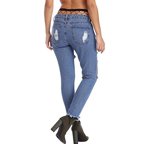 Pesca Design Rete Vita jeans Matita Pantaloni Alta Donna Blu Jeans Moda Personalità Calzini Lqqstore donne Strappato SB041wqUS