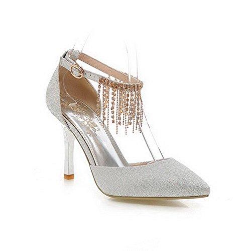 AmoonyFashion Womens Buckle Spikes Stilettos PU Solid Closed Toe Sandals Silver KbhP4lX