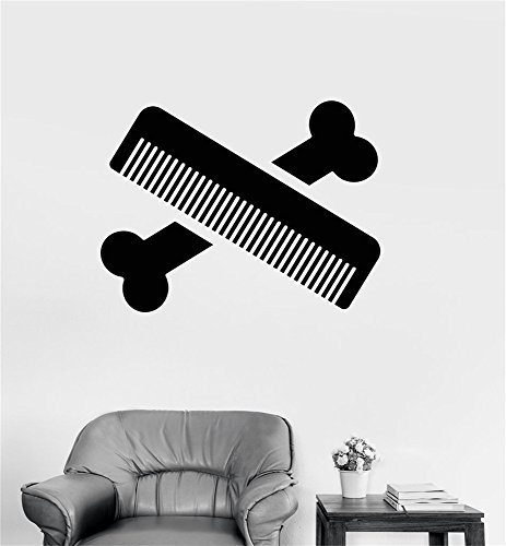- wkdgks Vinyl Wall Decal Quote Home Decor Bone Comb Pets Grooming Services for beauty salon