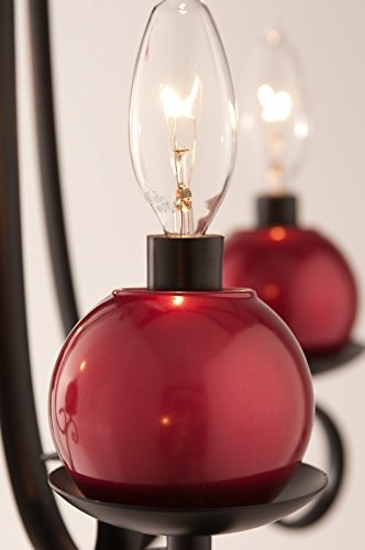 Candle Christmas Ornament (LightLady Studio - Glass Christmas Holiday Ornaments for Your Chandelier or Wall Lights - Mercury Glass ChandiCharms - Decorate Your Chandelier for the Holidays (Red))