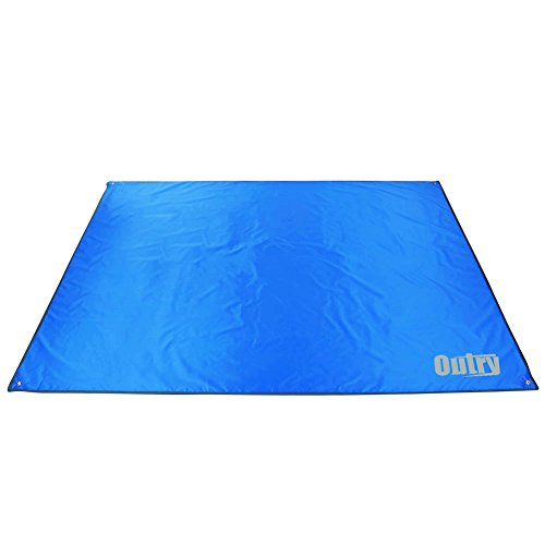 Outry Waterproof Multi-Purpose Tarp - Tent Stakes Included - Blue - S - 4.9ft x 7.2ft / 1.5m x 2.2m, Lightweight Camping Picnic Ground Sheet Cover Cloth Mat Footprint Rain Fly Shelter Tarpaulin