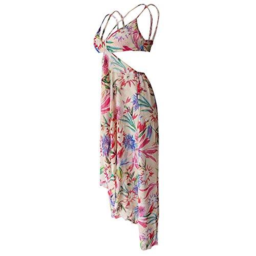 セクション成り立つめるLovoski 女性 シフォン フラワー スプリット ストラップ ビーチ ロングドレス マキシドレス 全2色6サイズ