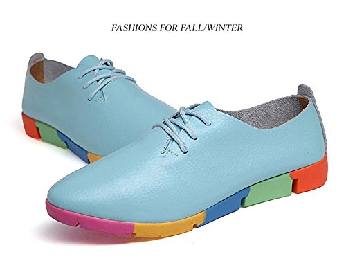 Students Sneakers Blue Shoes Women Up Toe Pumps Lace Casual Pointed Girl Oxford Flat Tn66qAcR5