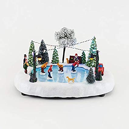 animated christmas village skating rink with lights and music animated holiday decoration - Animated Christmas Village