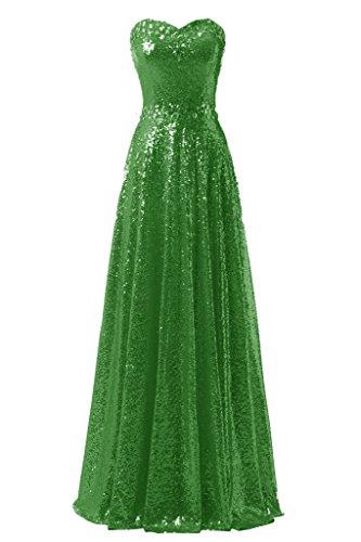 Ysmo Bling lentejuelas vestidos del baile de la mujer largo de noche para Party Verde