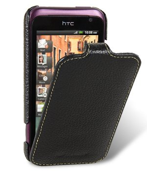 Melkco - Verizon HTC Rhyme Ultra Slim Handmade Premium Genuine Cowhide Leather Case Jacka Type Black (Rhyme Verizon Cell Phones Htc)