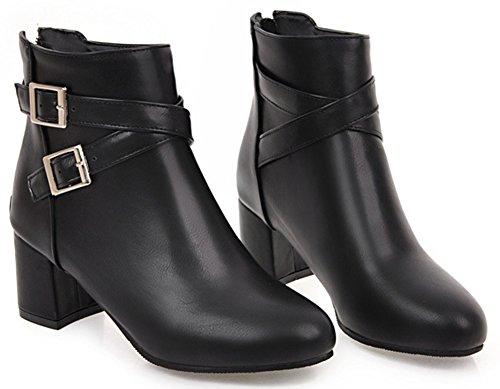 Idifu Kvinna Elegant Rund Tå Zip Upp Mitten Blocket Häl Kort Boots Svart