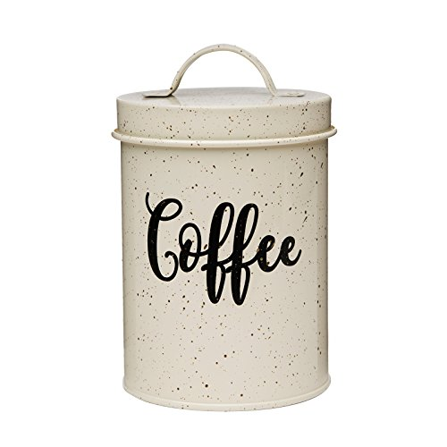 Amici Home 7CDI042R Maddox Collection Cream & Gold Speckled Metal Coffee Canister Push Top Lid, Painted Script Decal, 44 Ounce -