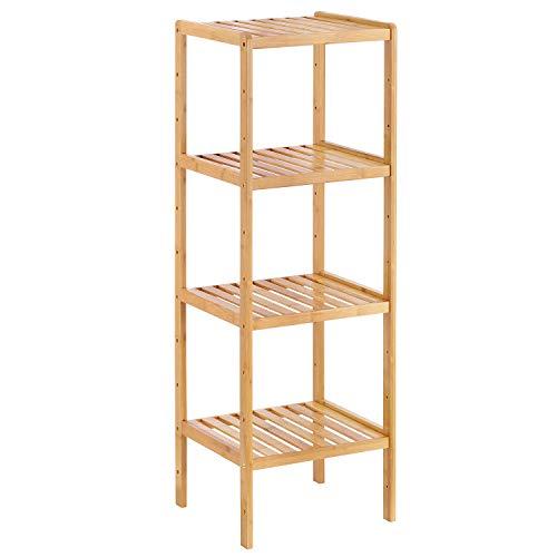 Bamboo Bathroom Shelf Stand, 4-Tier Storage Rack Shelving Unit, Free Plant Flower Display Standing Shelf Units for Bedroom Hallway Kitchen