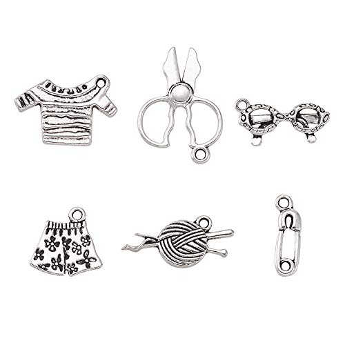 Pandahall 5Sets/30pcs DIY Sewing Knitting Themed Tibetan Style Alloy Pendants Necklace Jewelry Makings Findings Scissor/Safety Pin/Yarn Clew/Tshirt/Glass/Shorts Charms Antique Silver