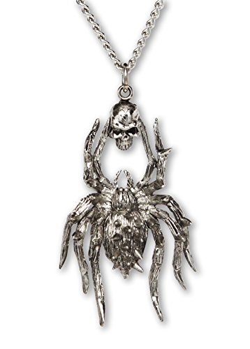 Gothic Spider with Skull Silver Finish Pewter Pendant Necklace (Pewter Spider Necklace)