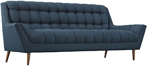 Modway Response Mid-Century Modern Sofa Upholstered Fabric in Azure