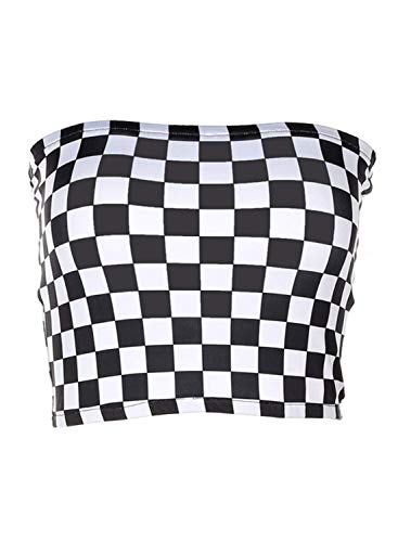 KalyChic Womens Summer Casual Strapless Pleated Print Bandeau Tube Crop Tops Plaid_Black L