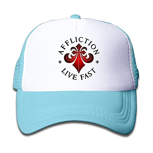 WH&SY Affliction-Logo Children Mesh Trucker Cap Adjustable Fashion Kids Mesh Snapback Hat Fitted Hats SkyBlue -