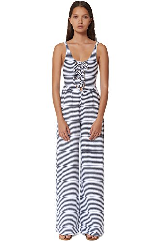 Mara Hoffman Women's Jacquard Stripe Lace-Up Front Jumpsuit Cover up, Navy/White, S