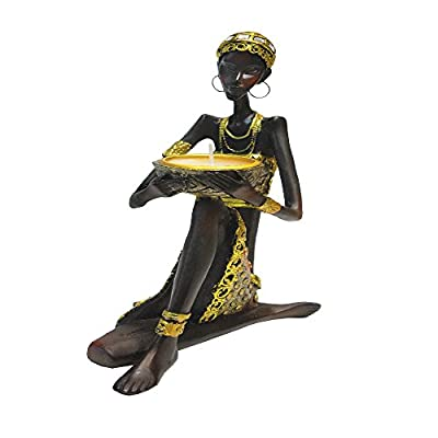 "Rockin Gear Statue African Figurine Sculpture Tribal Lady Figurine Statue Decor Collectible Art Piece 9"" Inches Tall"