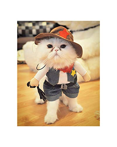 Beans Seven Funny Cat Costume Cowboy/Police/Nurse Suit Cat Clothes Halloween Costume Puppy Clothes Suit Dressing Up Party Clothing for Cats,Cowboy,XL]()