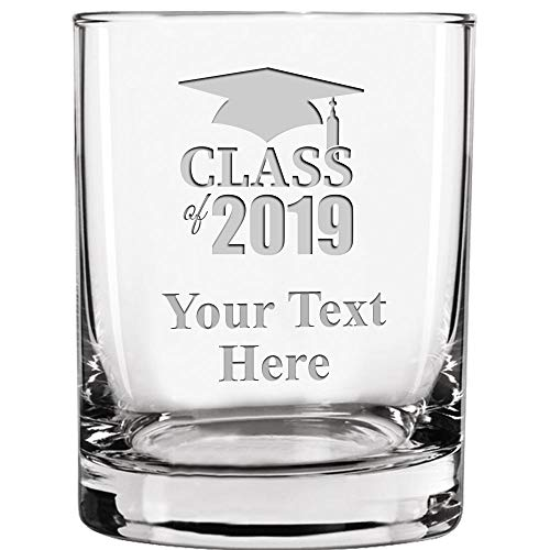 Graduation Drinking Glasses, 13 1/2 oz Custom Engraved Class Of 2019 Old Fashioned Glass, Customize With Your Own Engraving Prime]()