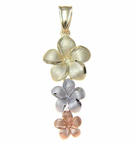 Plumeria Pendant Necklace (14K solid tricolor gold Hawaiian 3 plumeria flower dangle pendant)