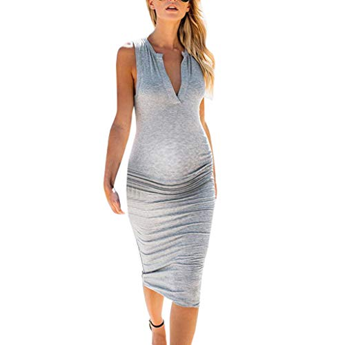 (Maternity Dresses Tight,Creazrise Women's Summer Sleeveless Loose Plain Maxi Dress Casual V-Neck Long Dress Gray)