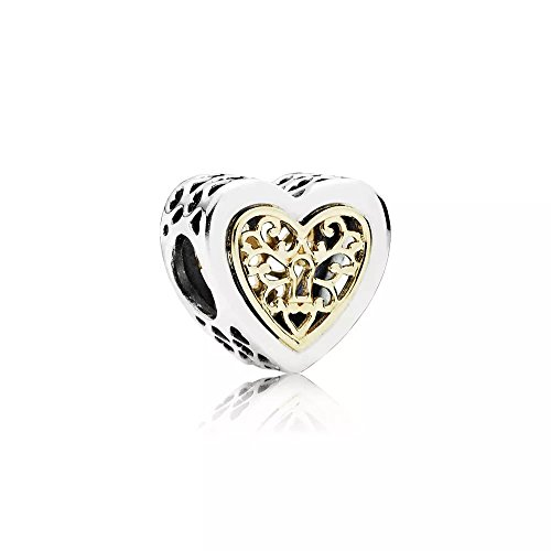 Angelbeads Locked Hearts Charm Bracelet 925 Sterling Silver Heart Charm with 14k -