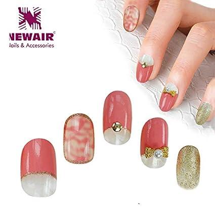 Buy Veena Full Cover False Nails Short Fake Nails With Glue Pink Pre