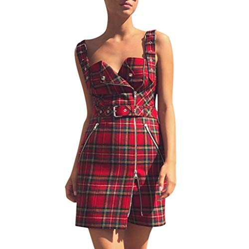 Clearance!Women's Gothic Dress – Ladies Slim fit Punk Retro Plaid Irregular Zipper Straps Dress