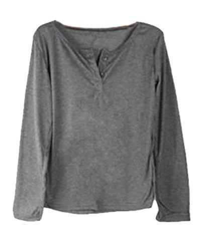 Minetom Camicetta V A Maglione Pullover shirt T Lunghe Camicia Sexy Scollo Nero Donne Maniche gqrgZ