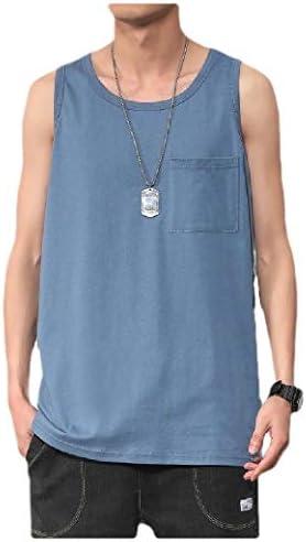 Beeatree メンズ ファッション ノースリーブ ポケット 100% コットン ソリッド カラー タンク A シャツ