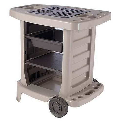 Suncast GC1500BTD Portable Outdoor Gardening Center with Interchangeable Shelves, Tool Storage And Utility Bin, Taupe by Suncast