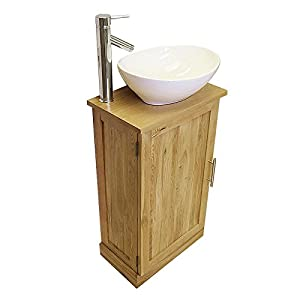 Slimline Cloakroom Solid Oak Vanity Unit With Basin B Amazonco - Sink with vanity unit