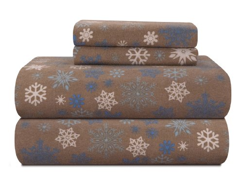 Snowflake Cat - Pointehaven Heavy Weight Printed Flannel Sheet Set, Queen, Snow Flakes/Tan