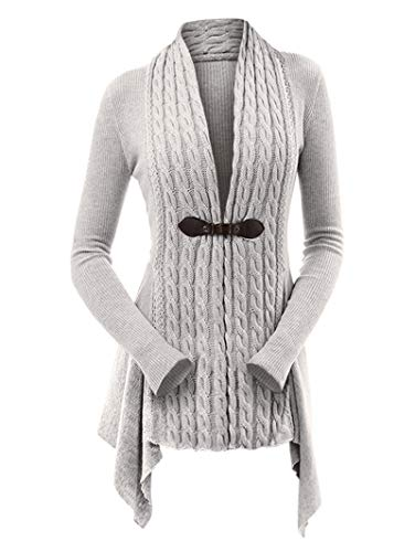 DEZZAL Women's Open Front Draped Asymmetrical Long Cable Knit Sweater Cardigan (Light Gray, M)