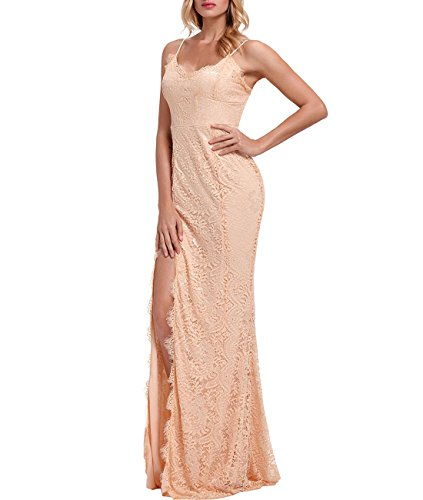 Lalagen Womens Floral Lace Split Long Formal Wedding Dress Evening Gown