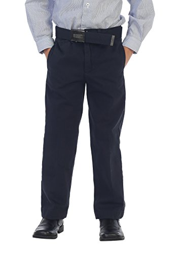 (Gioberti Boys Belted Flat Front Twill Pants, Navy, 16)