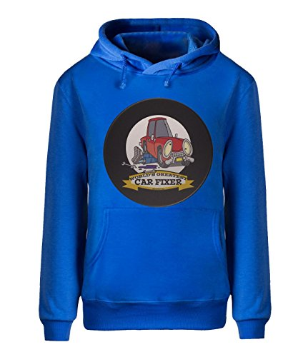 [Fatal Decision Men's Sport Hoodie Sweatshirt WORLDS GREATEST CAR FIXER royalBlue] (Mens Disco Jumpsuit)