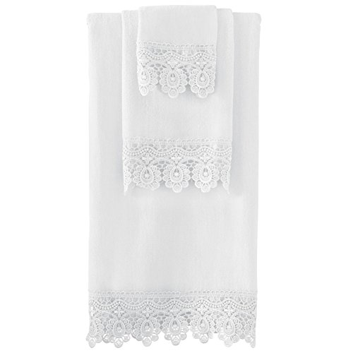 Lace Trim Bath Towel White