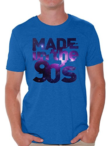 Awkward Styles Men's Made In The 90's T shirt Tops Galaxy Gift for Birthday Funny Saying Blue 2XL (90s Themed Clothes)
