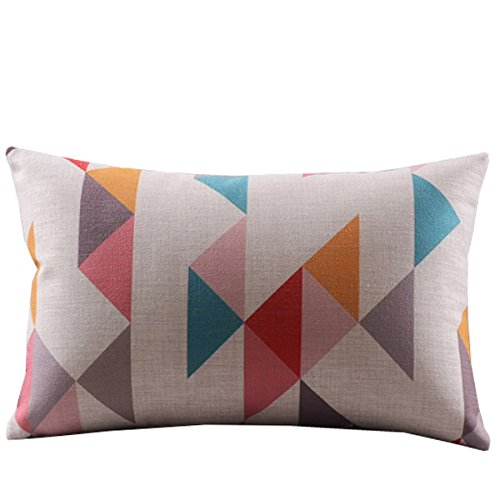 Createforlife Cotton Linen Decorative Throw Pillow Case Cushion Cover Multicolor Tetris Pattern Rectangle 12