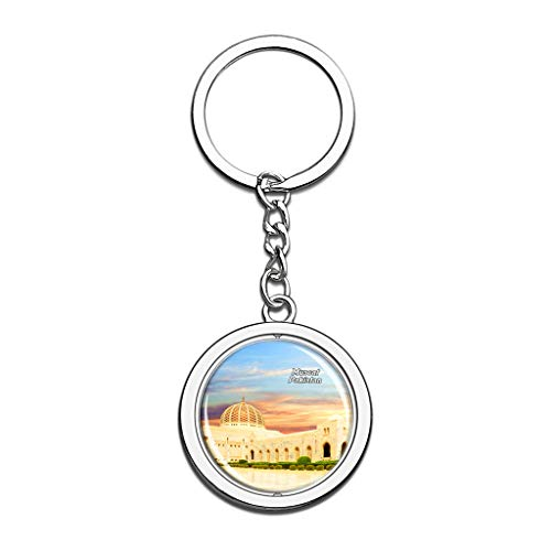 Hqiyaols Souvenir Grand Mosque Muscat Oman Keychain 3D Crystal Spinning Round Stainless Steel Key Chain Ring Travel City Gifts