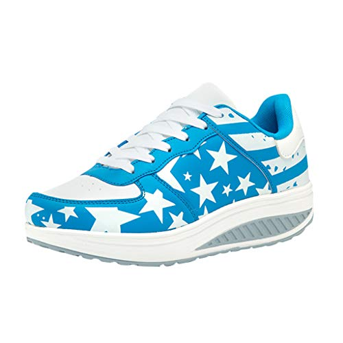 - Women's Walking Shoes Sock Sneakers - Stars and Stripes Slip On Air Cushion Lady Girls Dance Easy Shoes Platform Loafers Return Day Light Blue