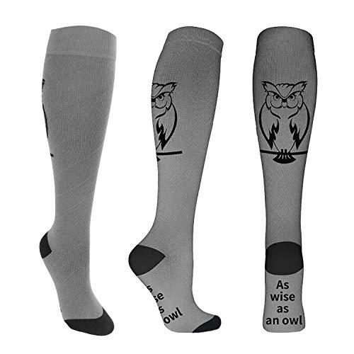 Compression Socks for Men & Women 20-30 mmHg Medical Graduated Compression Stockings for Running Nurses Shin Splints Diabetic Flight Travel Pregnancy Varicose Veins (Owl, L/XL)