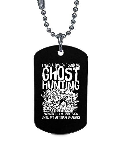 OMANECK Ghost Hunting Dog Tag, I Love Halloween Necklaces (Dog Tag Necklaces - Black)
