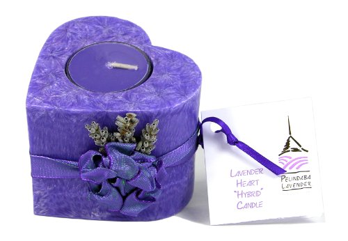 Pelindaba Lavender Decorative/Aromatherapy Heart Candle - soy & palm wax - purple ()