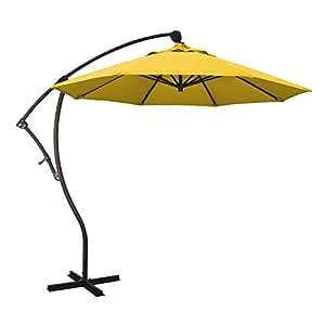 California Umbrella BA908117-F25 9' Round Aluminum Cantilever Umbrella, Bronze Pole, Lemon Olefin