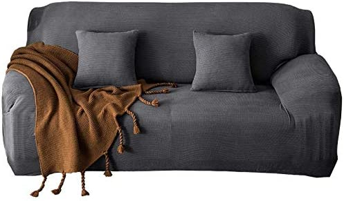 ZOCAVIA Easy-Install Sofa Slipcovers Ultra Soft Spandex Fabric Stretch Non-Slip Furniture Protector(Loveseat Grey)