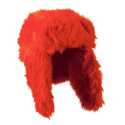 Faux Fur Color Trooper Hat - Orange OSFM